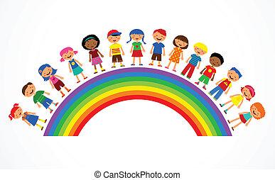虹, ベクトル, 子供, イラスト, カラフルである