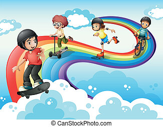 虹, 子供, 空, 遊び