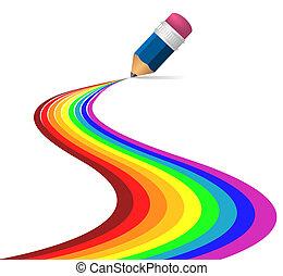 虹, 抽象的, 作られた, カーブ, 鉛筆