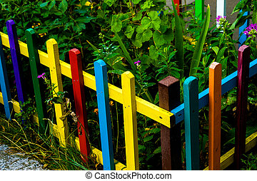 虹, multi 有色人種, フェンス, 木製である, 背景, 庭