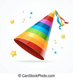 虹, pattern., 現実的, ベクトル, パーティー帽子