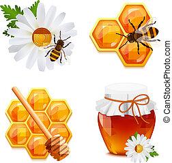 蜂蜜, セット, アイコン