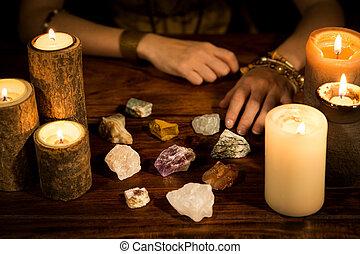 蝋燭, 手, 石, 治癒, 金銭出納係, コーチ, 生活, 概念, 幸運