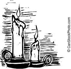 蝋燭, 木版
