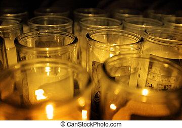 蝋燭, 白熱, ジャー, 暗闇, ガラス