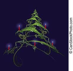 蝋燭, 飾られる, 木, クリスマス