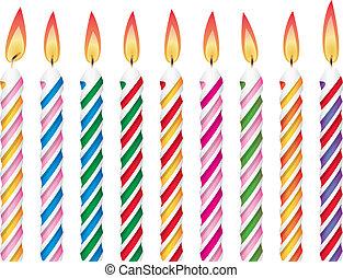蝋燭, birthday, カラフルである