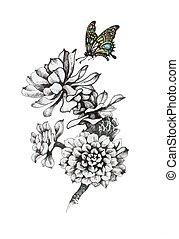 蝶色, 隔離された, 手, バックグラウンド。, モノクローム, 引かれる, 白い花