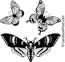 蝶, シルエット, ベクトル, セット
