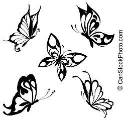 蝶, セット, 黒, 白, ta