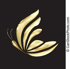 蝶, ロゴ, ベクトル, 贅沢, 金