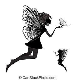 蝶, 妖精, シルエット