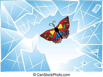 蝶, 打ち壊された, 窓