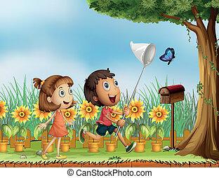 蝶, 捕獲物, つらい, 子供