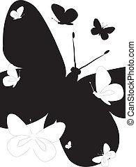 蝶, 白, 黒, 隔離された, 背景