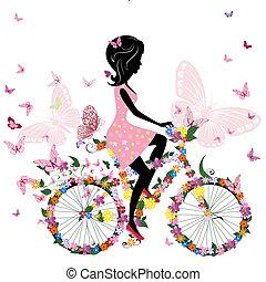 蝶, 自転車, ロマンチック, 女の子