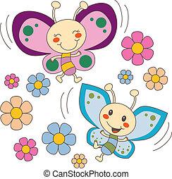 蝶, 花, 愛