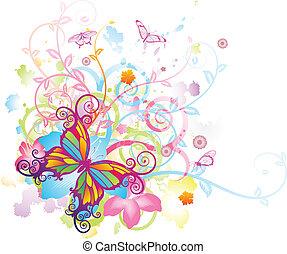 蝶, 花, 抽象的, 背景
