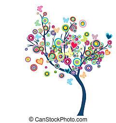 蝶, 花, 木, 有色人種, 幸せ