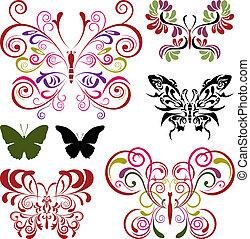 蝶, 要素, セット