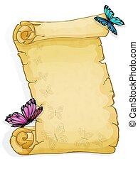 蝶, 隔離された, 白い背景, 羊皮紙