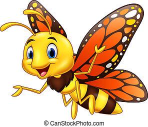 蝶, 隔離された, 背景, 白, 漫画, 幸せ