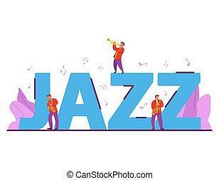 行く, 音楽をしなさい, ミュージカル, ジャズ, instruments., festival.people