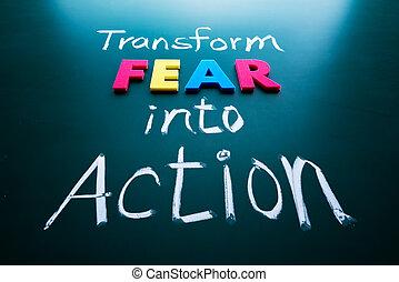 行動, 恐れ, 概念, 変わりなさい