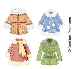 衣服, セット, 冬, 子供