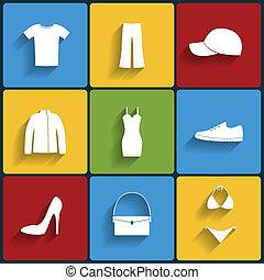 衣服, 平ら, ベクトル, セット, アイコン