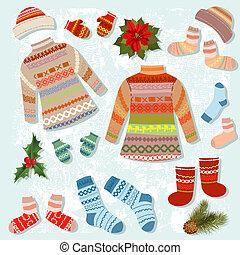 衣類, 暖かい, セット, 冬