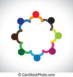 表しなさい, グラフィック, diversity., 多様性, 子供, &, これ, できる, 遊び, 人々, 子供, また, 概念, チームワーク, 缶, 手を持つ, ∥含んでいる∥, チーム, 企業である, circle.