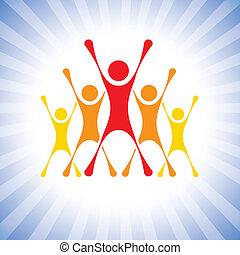表しなさい, ベクトル, 勝利, 人々, ∥など∥, スリルを感じさせられた, graphic., チーム, これ, イラスト, 挑戦, また, 目的達成者, 勝者, 目的達成者, 缶, メンバー, 祝う, 極度, 興奮させられた, competition-