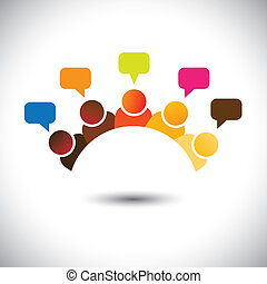 表しなさい, ミーティング, グループ, オフィス, ∥など∥, これ, graphic., イラスト, チームワーク, 襲撃すること, ベクトル, 脳, 缶, メンバー, 議論, executives(employees), opinions-, airing, 意見, スタッフ