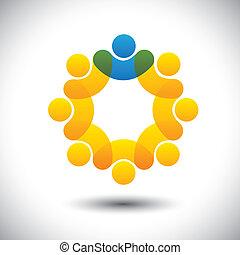 表しなさい, 概念, スーパーバイザー, 抽象的, 共同体, マネージャー, &, -, また, vector., 円, リーダー, メンバー, リーダー, アイコン, グラフィック, スタッフ, これ, 従業員, アイコン, リーダーシップ, ∥など∥, 缶, チーム