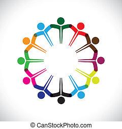 表しなさい, 概念, 人々, graphic-, チームワーク, 一緒に。, 子供, &, また, 統一, 従業員, ネットワーク, 遊び, 多様性, イラスト, ミーティング, 手, 子供, これ, アイコン, ∥など∥, ベクトル, 缶, ∥あるいは∥