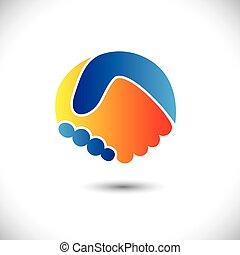 表しなさい, 概念, 人々, shake., 協力, &, -, ジェスチャー, また, 統一, 新しい, 友情, ビジネス 実例, 手, 友人, アイコン, グラフィック, これ, 挨拶, 信頼, ∥など∥, ベクトル, 缶, ∥あるいは∥