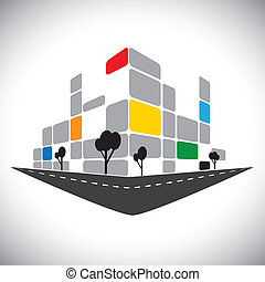 表しなさい, 構造, オフィス, 超高層ビル, 高層, 銀行, ホテル, 都市, -, また, skyline., 都市, コマーシャル, 極度, アイコン, 建物, スカイライン, グラフィック, これ, 中心, ∥など∥, ベクトル, 缶