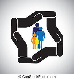 表す, グラフィック, 子供, 家族, 事故, 保護, ∥など∥, また, 概念, 安全, 父, vector., 母, 健康保険, ∥あるいは∥