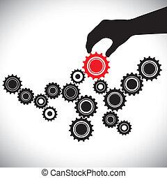 表す, グラフィック, 管理された, person(leader), &, 重要性, 滑らかである, イラスト, これ, ベクトル, 黒い赤, キー, チーム, バランス, 白, 作用, はめば歯車, hand(person)., ギヤ