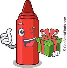 袋, クレヨン, 漫画, 贈り物, 赤