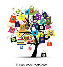 袋, デザイン, 買い物, あなたの, 木