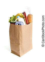 袋, ペーパー, 食料雑貨, フルである