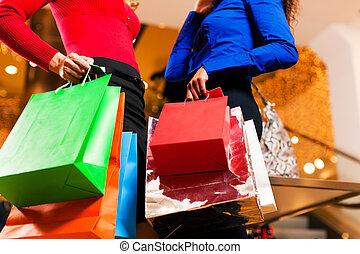 袋, モール, 友人, 買い物, 2