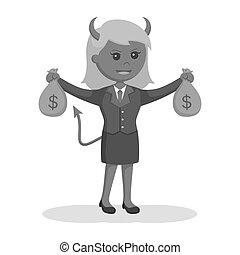 袋, 女性実業家, 悪魔, お金