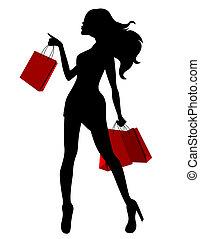 袋, 女 シルエット, 若い, 黒い赤