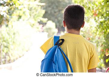 袋, 学校, 子供, 屋外で