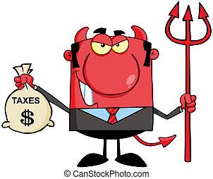 袋, 微笑, 悪魔, 保有物, 税