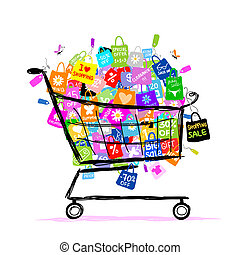 袋, 概念, 買い物, 大きい, セール, デザイン, バスケット, あなたの