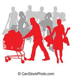 袋, 概念, 買い物, 抽象的, セール, カート, ベクトル, 背景, 人, 女性